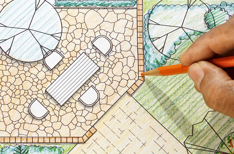Patio being drawn in a blueprint