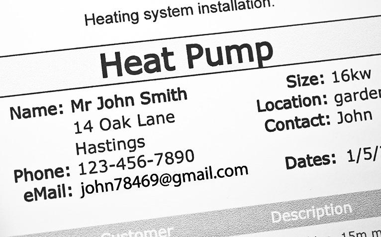Heat pump order form