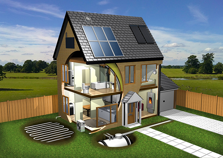 CGI image of house without walls showing possible energy efficient improvements