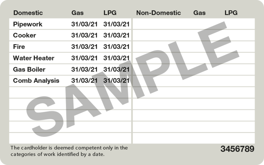 Back of a sample Gas Safe ID card listing the jobs that the engineer can complete