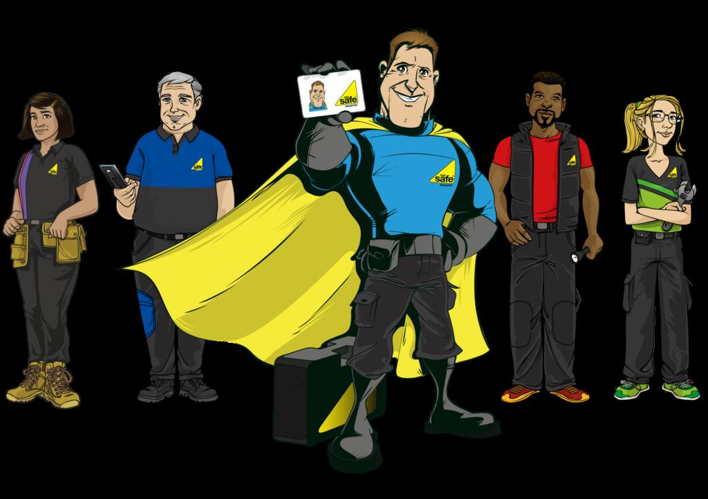 Cartoon image of the Gas Safety Week mascots: Gas Safe Hero Doug, and the Safety Squad (Leon, Aisha, Bob and Olivia)
