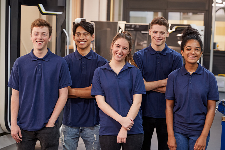 Smiling young apprentices