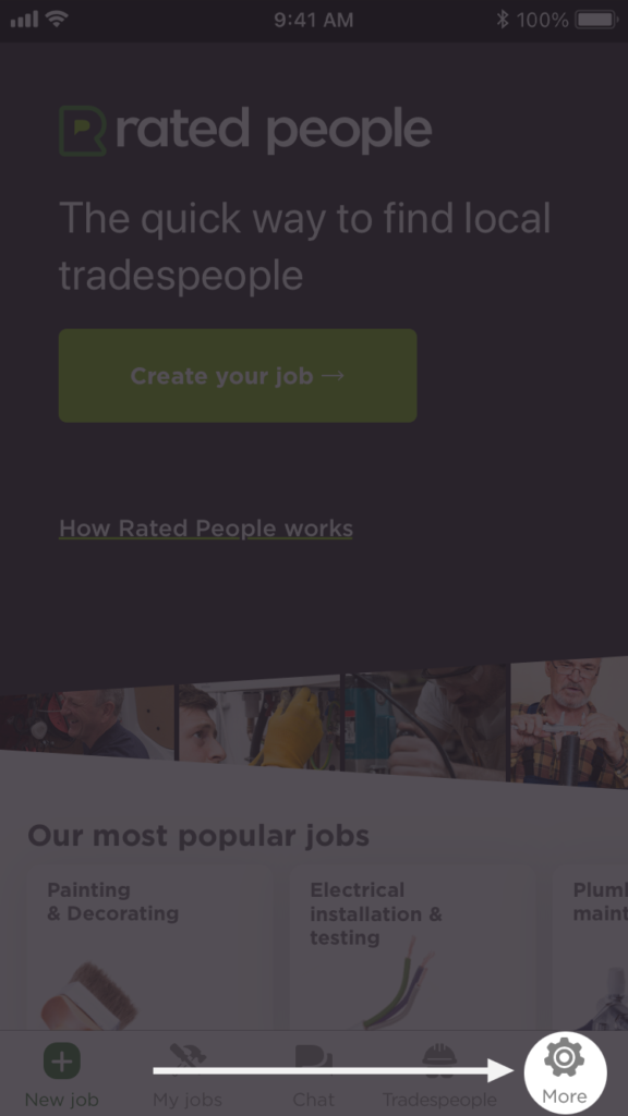 "Login screen of the Rated People homeowner app with the ""More"" option highlighted in the bottom right corner."