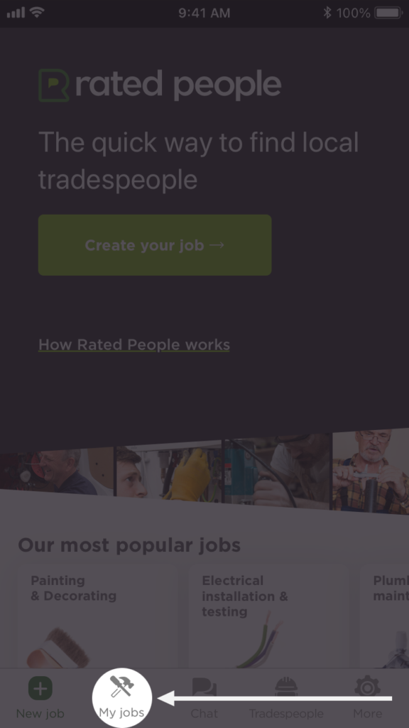 "Login screen of the Rated People homeowner app with the ""My jobs"" option highlighted on the bottom navigation bar."