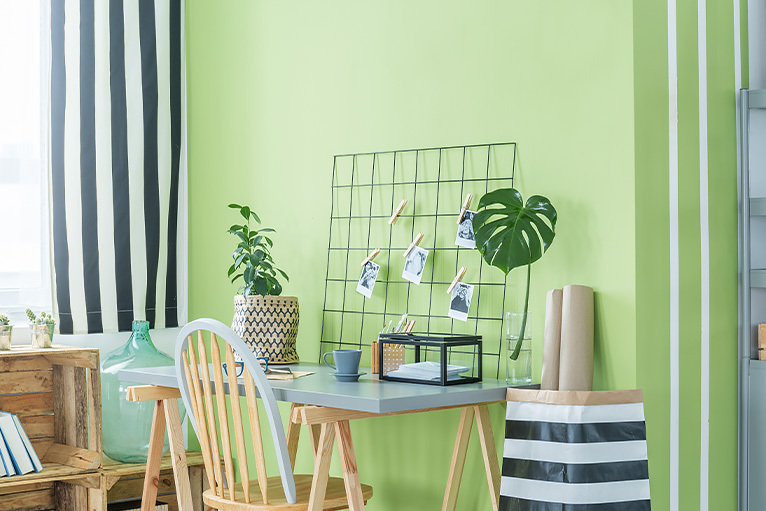 Lime green working from home office space