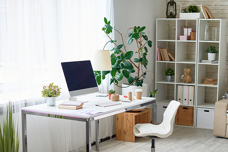 Office with desk and document storage
