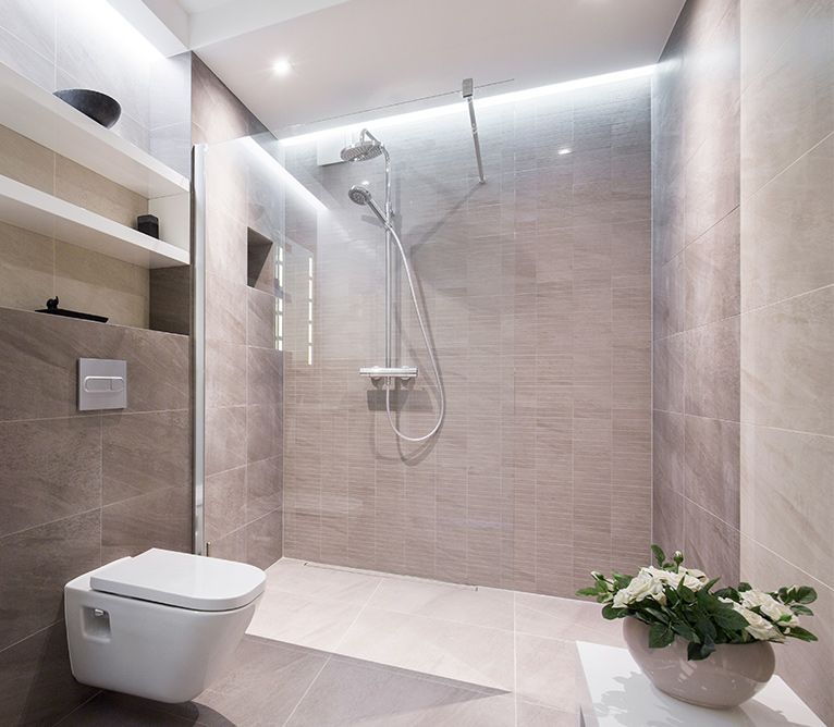 Modern bathroom with walk-in shower, spotlights and a wall mounted toilet