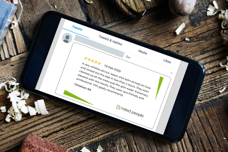 Social media: Tradesperson sharing a Rated People customer rating on Twitter