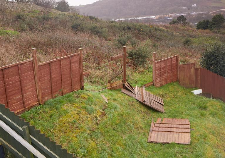 Storm damage: Broken garden fence in North Devon during Storm Ciara