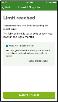 'Limit reached' reason on the 'I couldn't quote' page on the Rated People Trades app