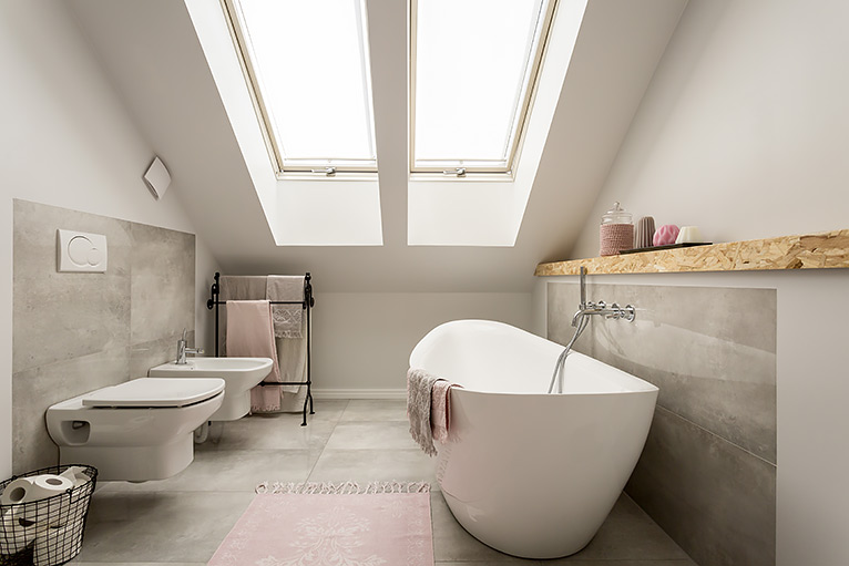 Bathroom ideas with grey tiles and pink accents