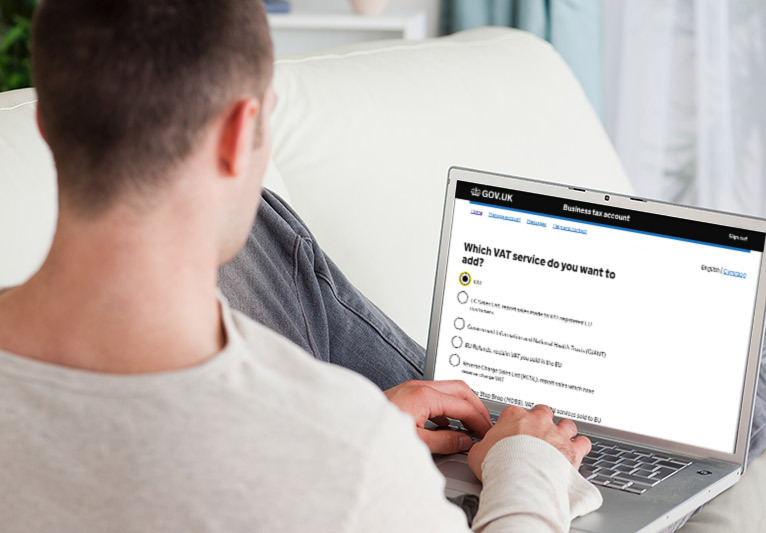 Person looking at gov.uk on laptop