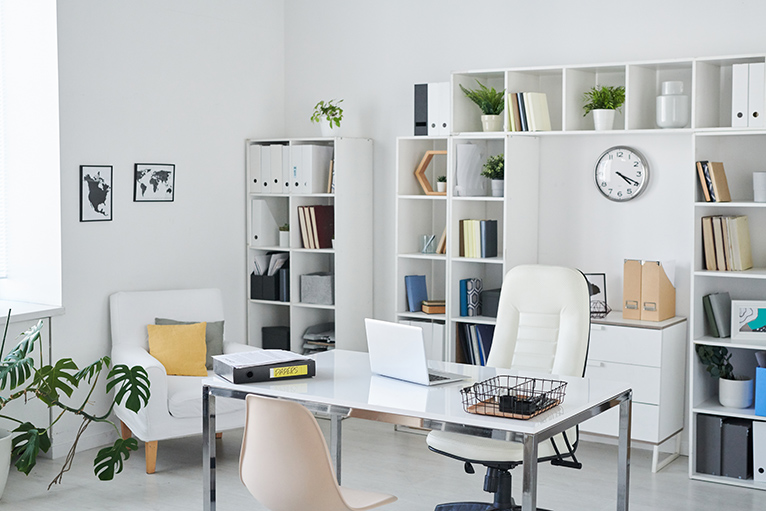Clean office with white decor