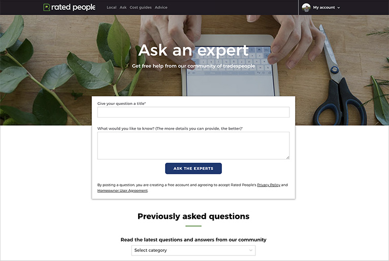 Ask an Expert page on the Rated People website