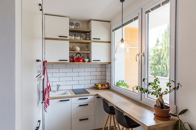 Small kitchen with breakfast bar
