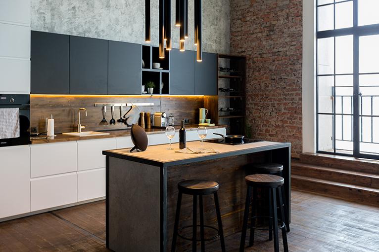 Kitchen with dark interior
