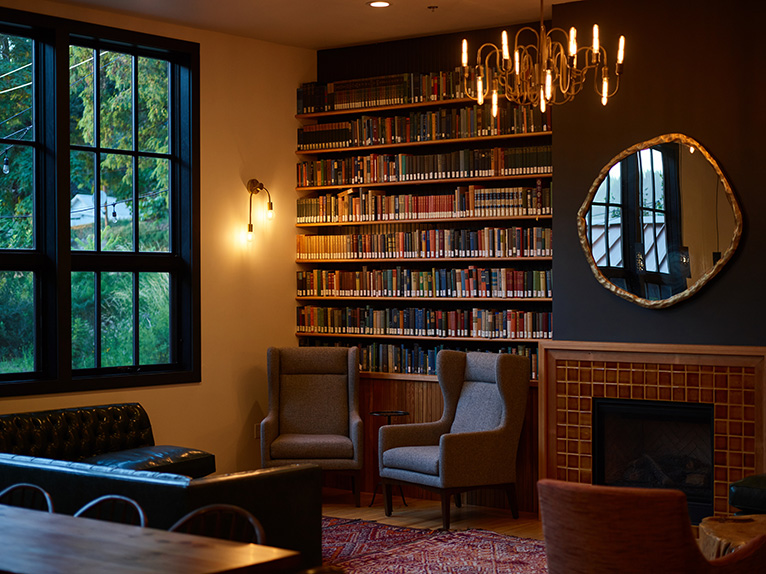 Home library in cottage