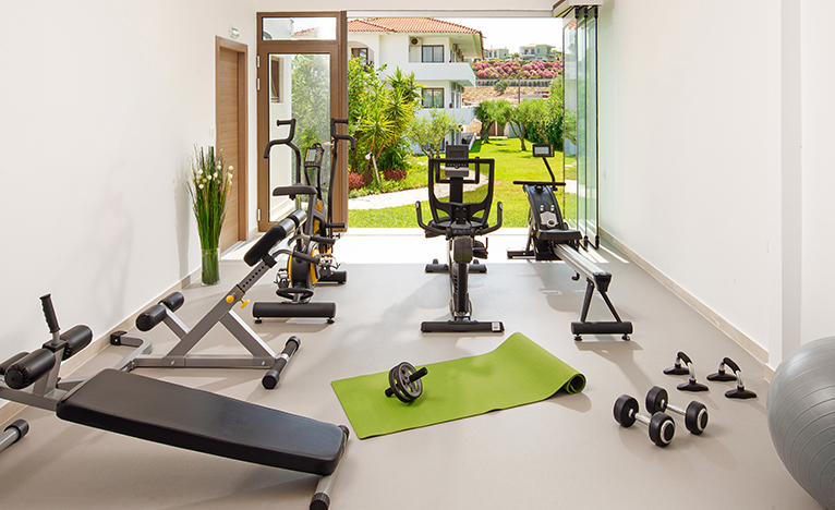 Gym in house extension leading to garden