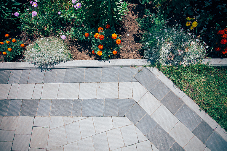 Paved garden pathway with edging plants
