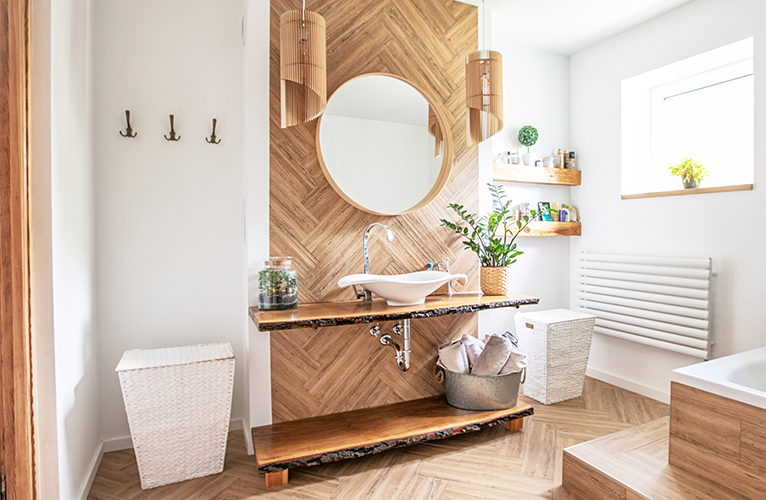 2021 home improvements: Bathroom with wood features