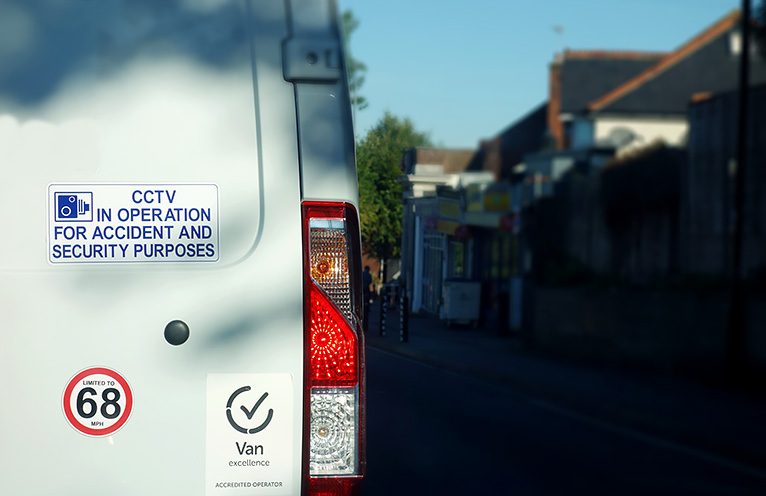'CCTV in operation' sticker on the rear of a van, to helpprevent van theft