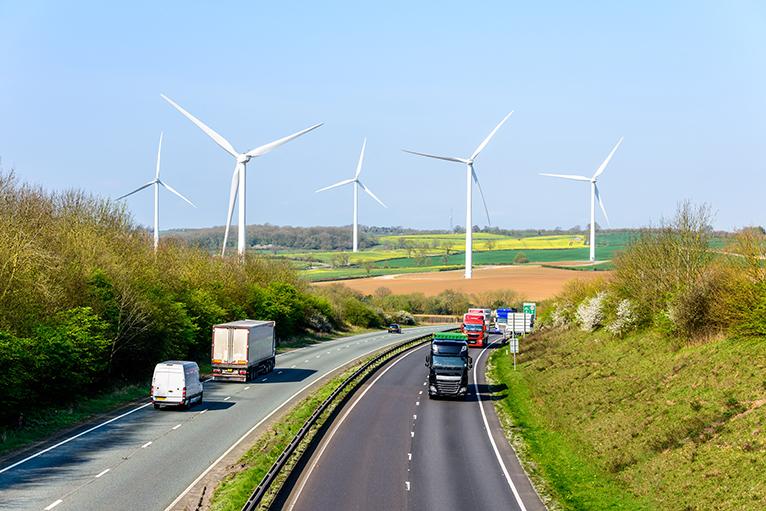 Wind farm near motorway