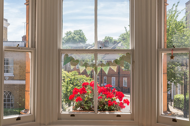 Bright red flowers outside a bay window