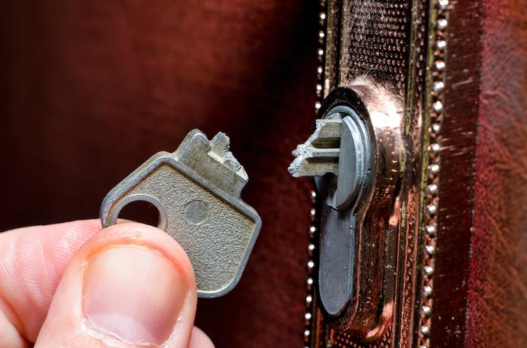 Snapped key in lock