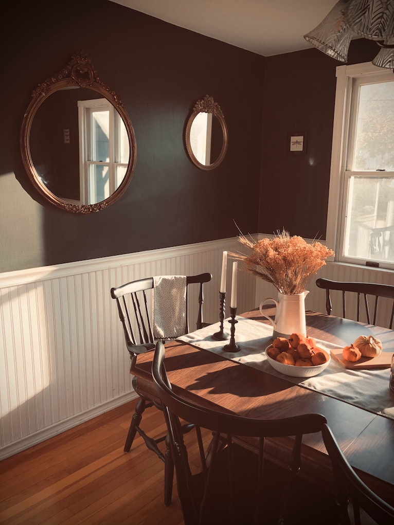 Budget home design: Dining room with brown decor