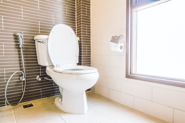 Toilet in brown and cream coloured bathroom