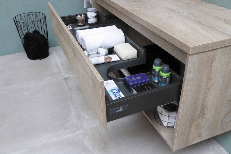 Under-sink vanity unit with space for plumbing