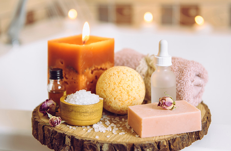 Bath toiletries and candle