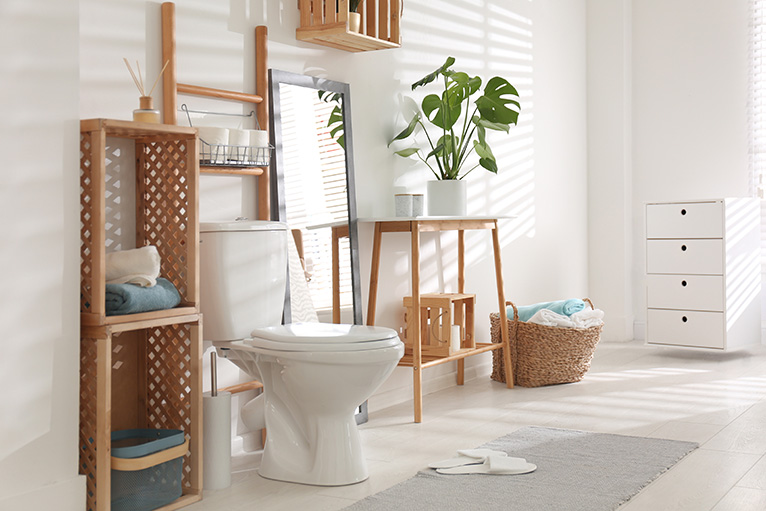 Stylish bathroom with wooden design elements