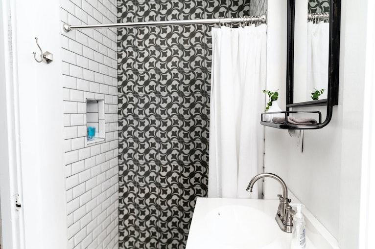 Recessed shelf inside shower area