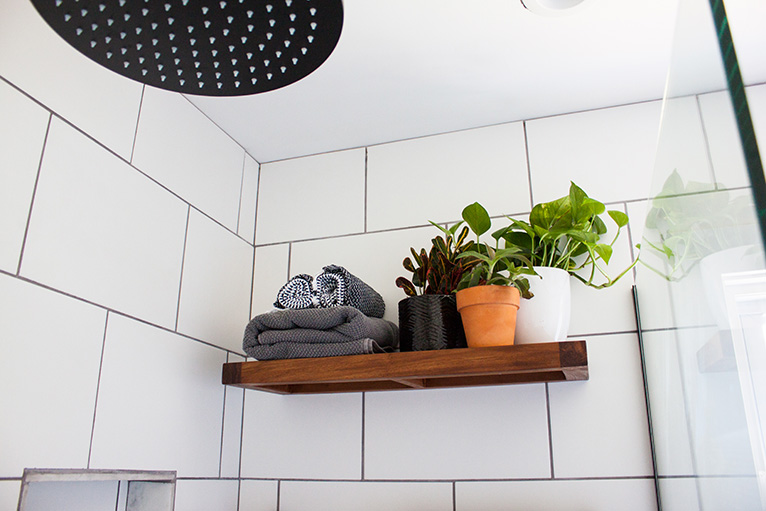 Shelf in shower holding towels and plants