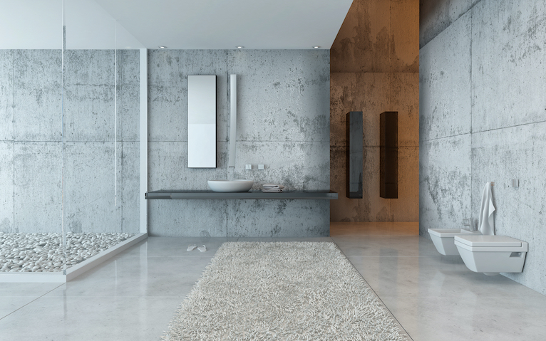 Large modern bathroom with minimalistic fixtures and fittings