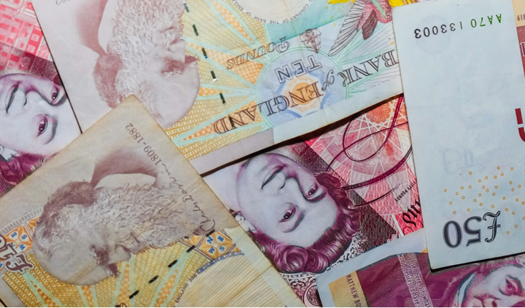Banknotes laid out
