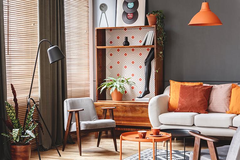 Cabinet with orange geometric lining