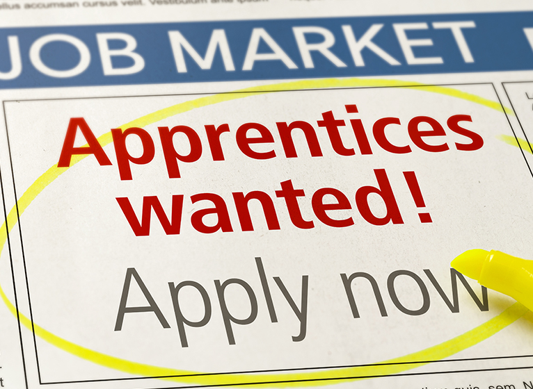 """Newspaper job advert saying """"Apprentices wanted!"""""""