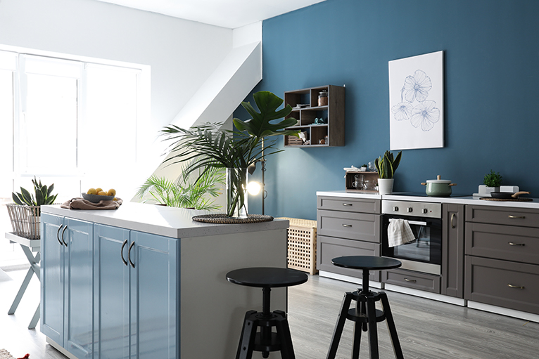 Kitchen with blue walls and cabinets