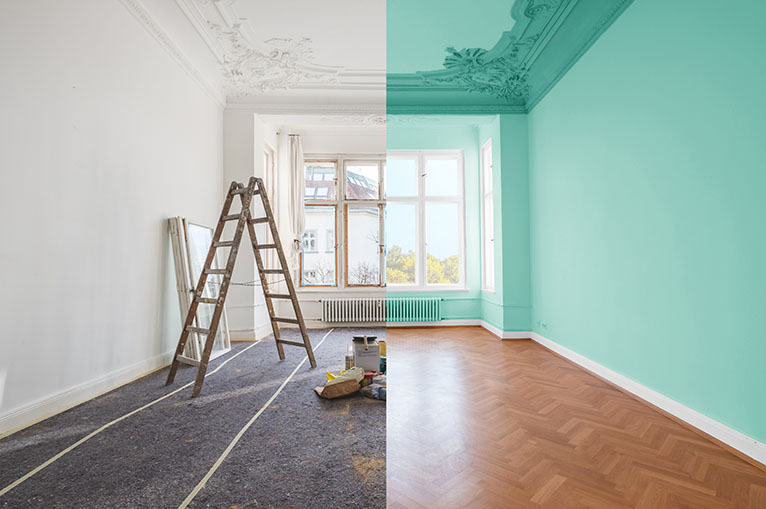Before and after photo of painted room