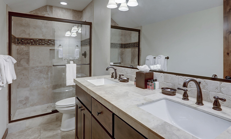 Walk-in shower in brown-themed bathroom