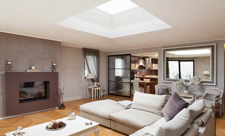 Skylight in large living room