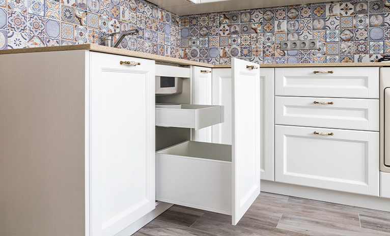 Kitchen cabinets with storage drawers