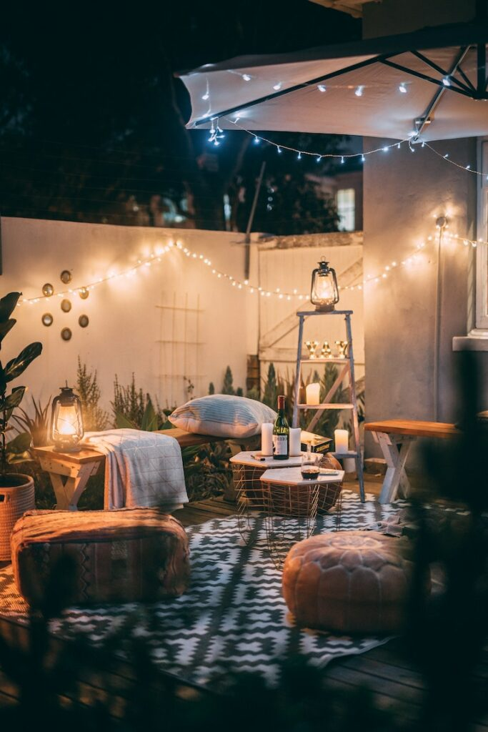 Cosy fabric garden furniture and fairy lights