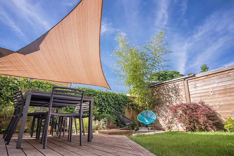 Shade sail in garden