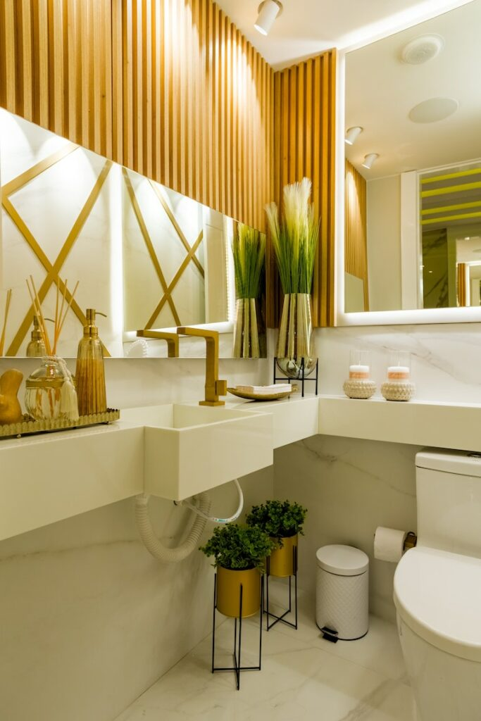 March home updates: Modern bathroom with wood and white design elements
