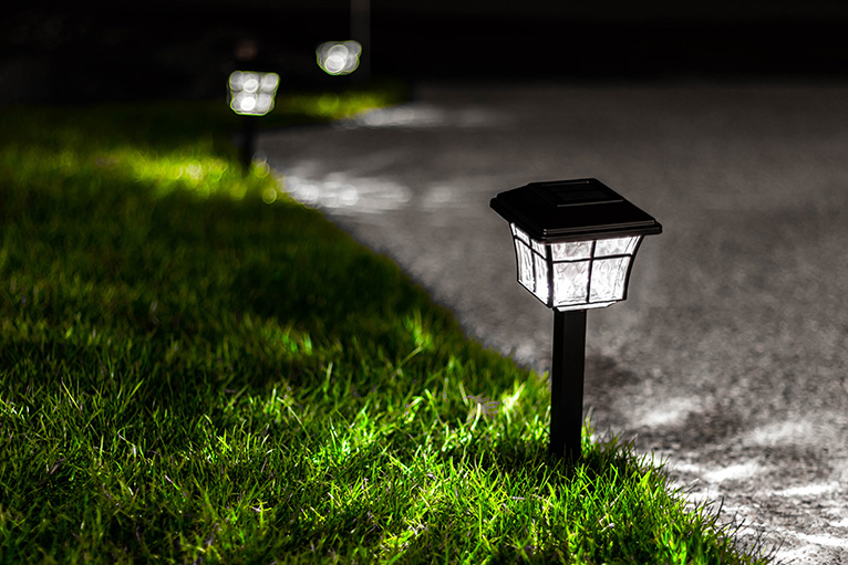 Lights illuminating home at night