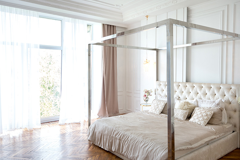 Modern metal four poster bed