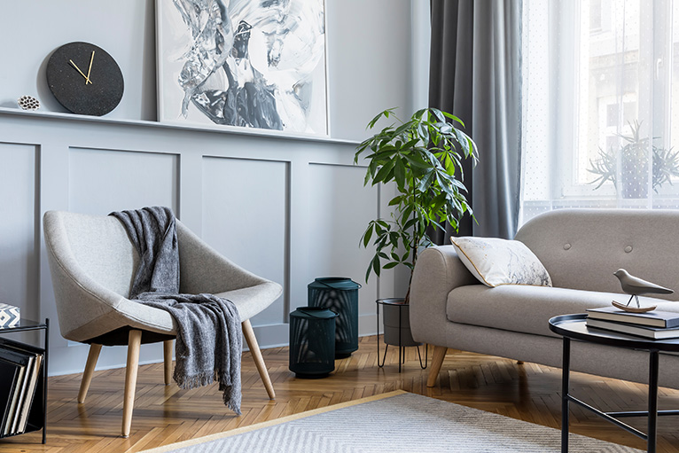 Grey panelling in living room